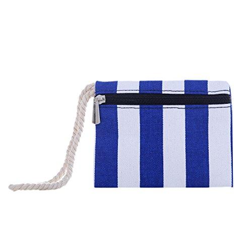Borsa da spiaggia grande con chiusura zip 58 x 38 x 18 cm Shopper stile marinaro a righe beach bag Blu-Bianco