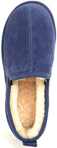 Herrenschuhe/Slipper aus Schaffell mit leichter Wildledersohle Dunkelblau