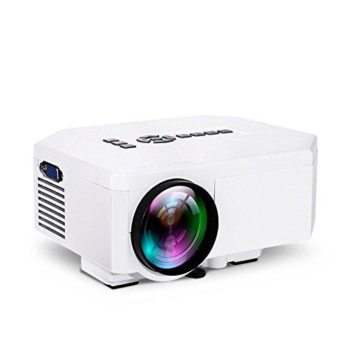 UC30 HD 1080P Projektor VGA/HDMI/∪ Disk/TF Card/TV/DVD/VCD/Xoox Spiel/Notebook/Desktop/HD-Player/Top/Digitalkamera/MP4/MPS Home KTV Mini LED-Miniatur Projektor, Weiß