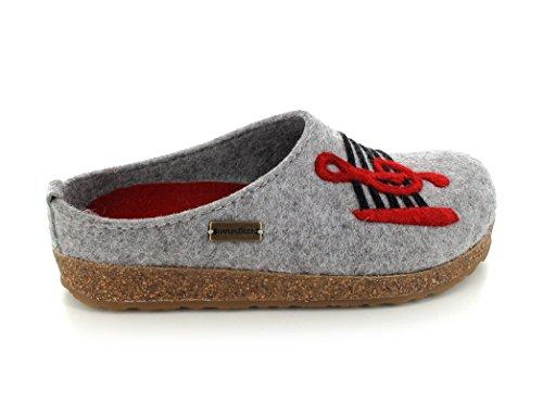 Haflinger Grizzly, Pantofole basse con note musicali Donna grigio pietra