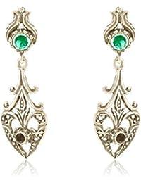 Córdoba Jewels | Pendientes en plata de Ley 925. Diseño Filigrana Ónix Esmeralda