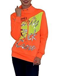 S&LU Damen Neon Sweatshirt Pullover mit Silber-Schriftzug