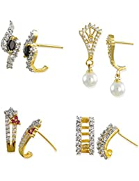 Zaveri Pearls Cubic Zirconia Set Of 4 Combo Stud Earrings For Women - ZPFK6266