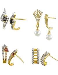 Zaveri Pearls Cubic Zirconia Set Of 4 Combo Stud Earrings For Women - ZPFK6266