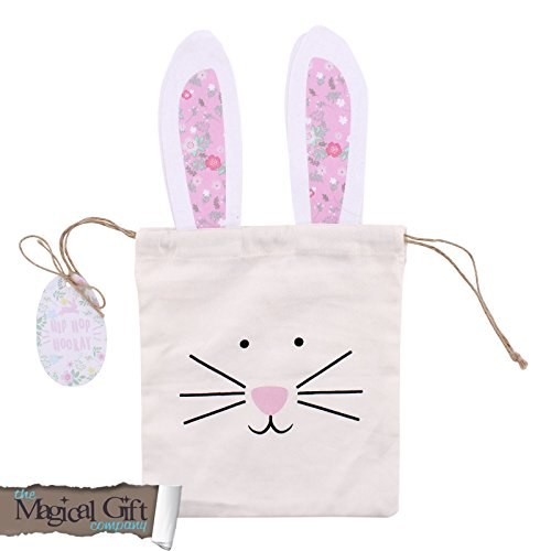 Snowshoe Pair Giftware Ostern Leinwand Bunny Kaninchen Gesicht Ohr behandeln Goody Party Beute Tasche Hunt (Behandeln Leinwand)