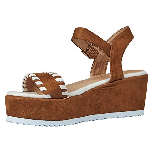 ByPublicDemand Olga Femme Talons Compensés sandales Marron Camel