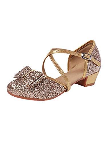 SPDYCESS Mädchen Glitzer Tanzschuhe Latein Schuhe Partei Ballsaal Schuhe Sandalen mit Gummi Sohlen mit 3cm Absatz