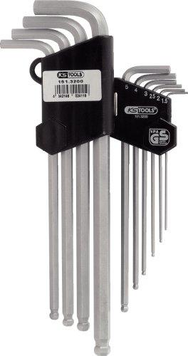 KS Tools 151.3200 Kugelkopf-Innensechskant-Winkelschlüssel-Satz im Klapphalter, 10-tlg.