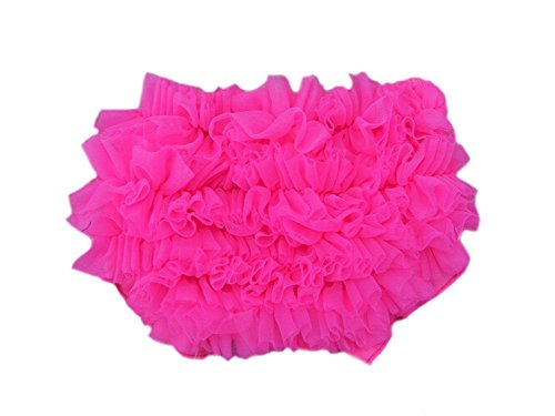 DELEY Baby Mädchen Solide Lace Kleid Rüsche Hose Pumphose Windel decken Hot Pink L (Kinder Kleid Pink Hot)