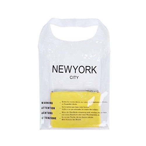 Sassy Pippi Transparente Handtaschen, Shopper aus Plastik, Handtaschen im Einkaufstüten, (A. Gelb)