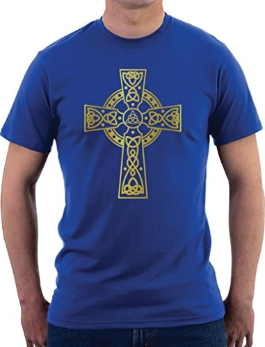 Celtic Cross Motiv T-Shirt Blau