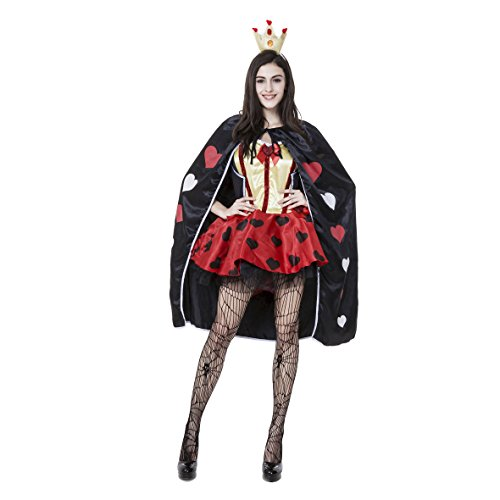 Karte Der Kostüm Herz Königin - Damen-Frauen Sexy Königin der Herzen Alice-Karte Anzug, die Königin der Poker-Kostüm - A
