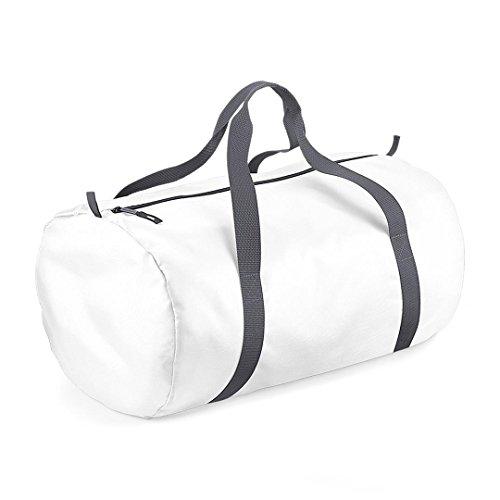 BagBase - Sac de Sport Tonneau repliable - Blanc/Gris Graph