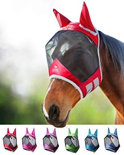 Harrison Howard CareMaster Pro Luminous Fliegenmaske UV-Schutz mit Ohrenschutz Rot Vollblut (M)