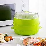 MovilCom - Olla a vapor 2 niveles Microvap | cocinar al vapor | vaporera microondas - verde