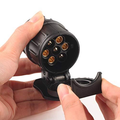 SKYYKS Auto Anhänger LKW 13 Pin auf 7 Pin Stecker Adapter Konverter Anhängerkupplung Buchse schwarz -