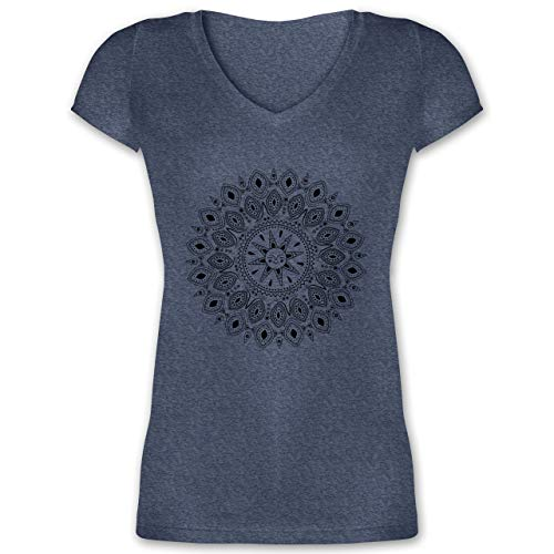 Boheme Look - Boho Mandala Yoga Sketch - XXL - Dunkelblau meliert - XO1525 - Damen T-Shirt mit V-Ausschnitt