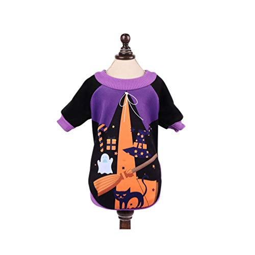 Hexen Bilder Von Kostüm - POPETPOP Hund Halloween Outfits hexen Muster Winter Hoodies Haustier Halloween kostüme für Halloween weihnachtsfeste Party Cosplay für kleine große Hunde welpen Katzen - XL