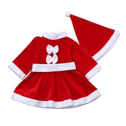 Bestow Traje De La Ropa De Navidad Bowknot Party Dresses + Hat Outfit (3-4T, Rojo)