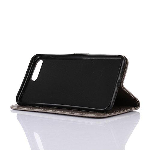 """Trumpshop Case Coque Housse Etui de Protection pour Apple iPhone 6/6s Plus 5.5"""" + Noir + Ultra Mince Portefeuille PU Cuir Avec Fonction Support Anti-Choc Anti-Rayures Gris"""