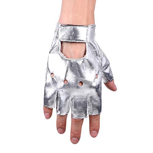 Tiaobug Punk Rock Leder Halbfinger Fahrrad Handschuhe Männer Frauen Gothic Zubehör für Cosplay Halloween Kostüm Sport Nachtclub Silber One Size (Für Erwachsene Silber Kostüm Handschuhe)