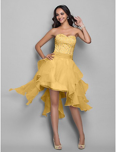 HY&OB Asymmetrische Organza Stretch Satin Homecoming Urlaub Kleid Mit Perlen, Gold, Us2/Uk6/Eu32 (Kleider Satin Homecoming)