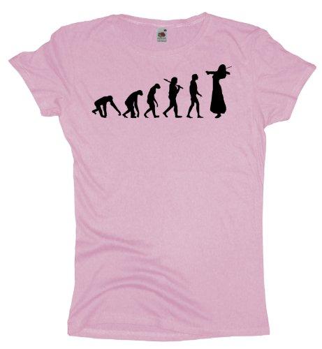 Ma2ca - Evolution - Violinistin - Damen Girlie T-Shirt -lightpink-xs