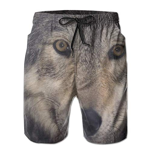 Nacasu Men's Swim Trunks Wolf Casual Sportswear Quick Dry Beach Shorts for Boys Summer L