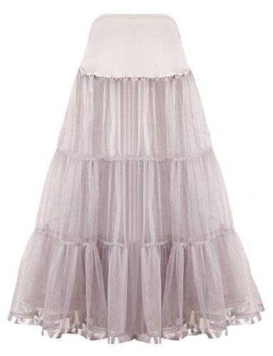 Shimaly Damen bodenlangen hochzeit petticoat lange underskirt für formales kleid s-3xl Grau Small / Large (Prom Geschwollene Kleider Grau)