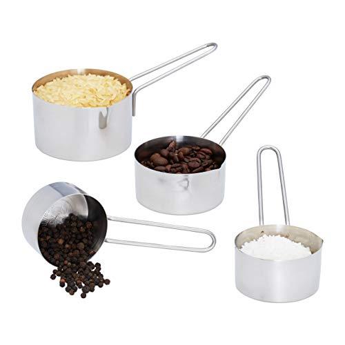 Relaxdays Standard Messbecher Set 4 TLG, Edelstahl, Messlöffel Cup mit Griff, spülmaschinenfest, US-Größen, ml Angaben, Silber (4-cup Messbecher 1)