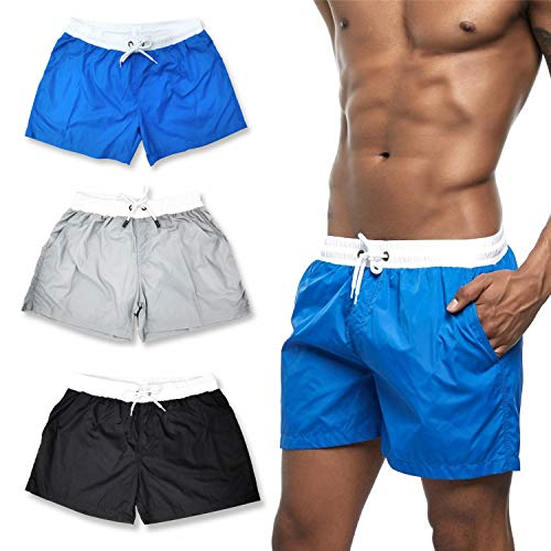 HASAGEI Badehose für Herren Badeshorts Männer Schwimmhose Jungen Boardshorts Sport Shorts Surf Beachshorts (L, Blau)