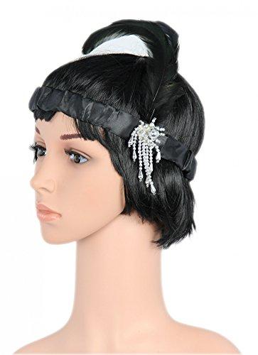 Foxxeo 35128 | schwarzes Charleston Kopfband für 20er Jahre Party Stirnband schwarz mit Federn