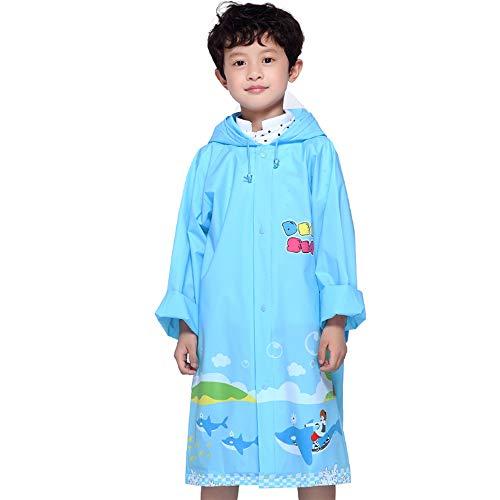 Kinder Regenmantel Geyao Ocean World Eva Stilvolle Schüler Kind mit Einer Schulranzen und Einem niedlichen Cartoon Regen Cape Female (Color : Blue, Size : XL)