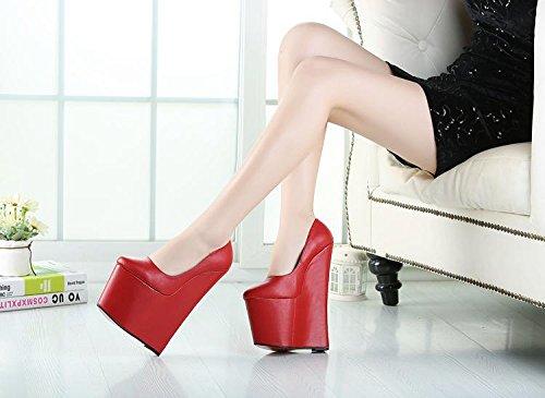 HeiSiMei Frauen High Heels / Keilabsätze / super hoch / kurze Stiefel / runde Zehe / Peep Toe Pumps / Nachtclub / Party & Abend / Herren / Unisex RED-EU47