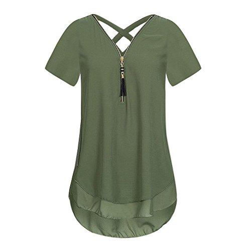 JMETRIC Damen Chiffon Kurzarm V-Ausschnitt Zipper Back Cross T-Shirt Hemd Volltonfarbe Weste Tops Bluse(Armeegrün,M)