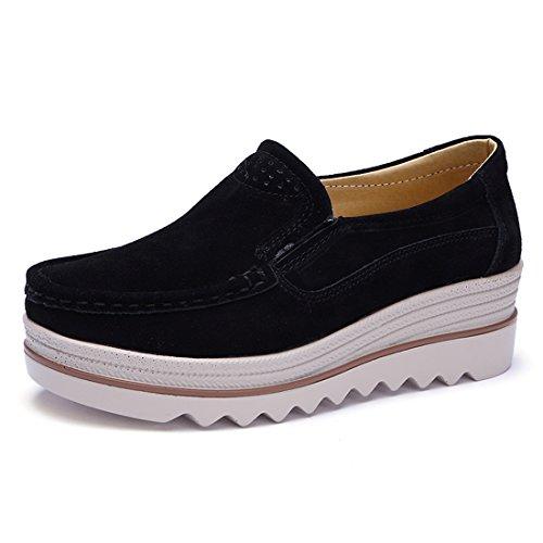 Z.suo mocassini donna in pelle scamosciata moda comode loafers scarpe da guida(40 eu,nero)