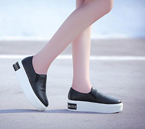Beauqueen 2017 Fashion Slip-on Elevator Heel Loafers Plate-forme PU Upper Round-Toe Casual Work Shoes EU Taille 34-39 Black