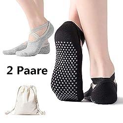 AmazeFan rutschfeste Yoga Socken für Damen, Ideal für Pilates, Outdoor Sport Workout Strümpfe mit rutschfesten Noppen Schwarz und Grau 2 Stück