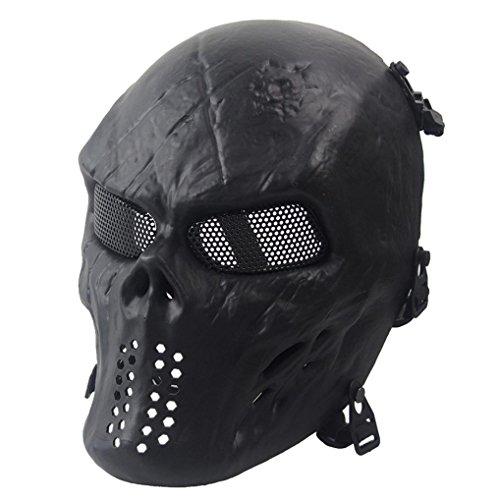 cinnamou Halloween Maske - Full Face - Airsoft Paintball Schädel Skeleton Maske - CS Maske Taktisches Militär (Schwarz)