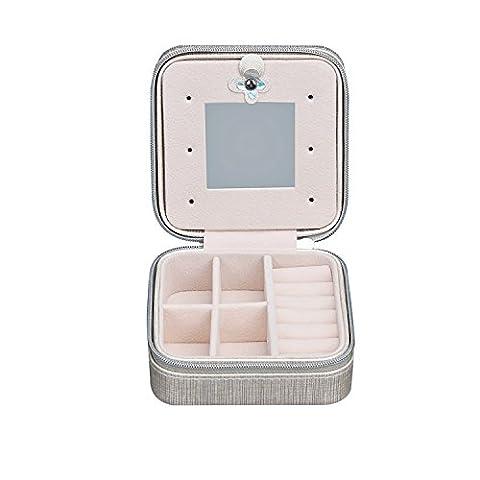 Schmuckkästchen, Amidi Schmuckbox mit integriertem Spiegel, hochwertige Schmuckschatulle mit praktischer Facheinteilung, tragbare Schmuckaufbewahrung Schmuckkoffer im Gepäck für Reise