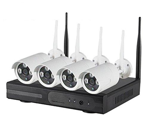 KDKD ® Ip-kamera WiFi Sicherheitssystem Nachtsicht Kamera Wireless Security Ip-kamera mit Wasserdicht mit Nachtsicht 4 Kamera und Video Recorder Kit , A (4 Wireless-kamera-sicherheitssystem)