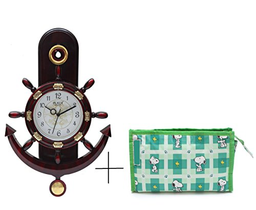 Bazaar Pirates Crown Ship Pendulum Wall Clock (Glossy Mahroon) + 1 Free Utility Bag Bazaar Pirates Crown Ship Pendulum Wall Clock (Glossy Mahroon) + 1 Free Utility Bag 41UpdiOoUhL