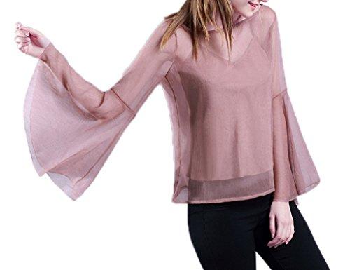 Smile YKK Chemise Grande Taille Femme Tulle T-shirt Top Manche Longue Evasée Blouse Transparente Rose