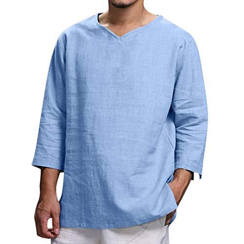 YEARNLY Herren Leinenhemd Henley Freizeithemd 3/4 Ärmellänge & Kurzarm Regular Fit Kragenloses Shirt