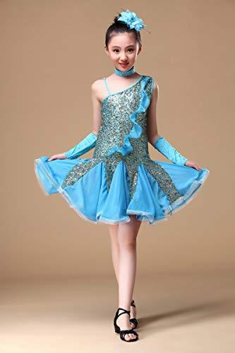 XGWD Kinder Mädchen Bauchtanz Outfit Kostüm Indien Dance Kleidung Kopfblume + Handschuhe + Rock,Blue,M