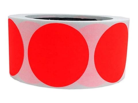 Tile & Sticker 2 Inch Round Fluorescent red orange Color Coding Dot Labels - 500 Colored Circle Stickers Per Roll by Tile & Sticker