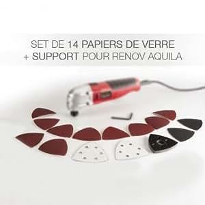 Set de 14 papiers de verre + support pour Renov Aquila
