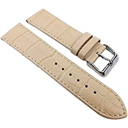 Eulit Big Fashion - Louisiana Print Replacement Band Watch Band Leather Kalf Strap Beige 21928S, Abutting:28 mm