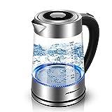 Sunix Hervidor de Agua Eléctrico, Hervidor de Cristal Control de Temperatura, 2000W con luz indicadora de LED Azul, 1.8L Libre de BPA y Sistema de Protección contra la Ebullición en Seco
