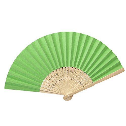 Paket Kondom Kostüm - Andouy Retro Faltfächer/Handfächer/Papierfächer/Federfächer/Sandelholz Fan/Bambusfächer für Hochzeit, Party, Tanzen(21cm.Grün)